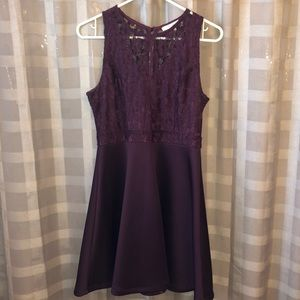 Purple skater dress with lace